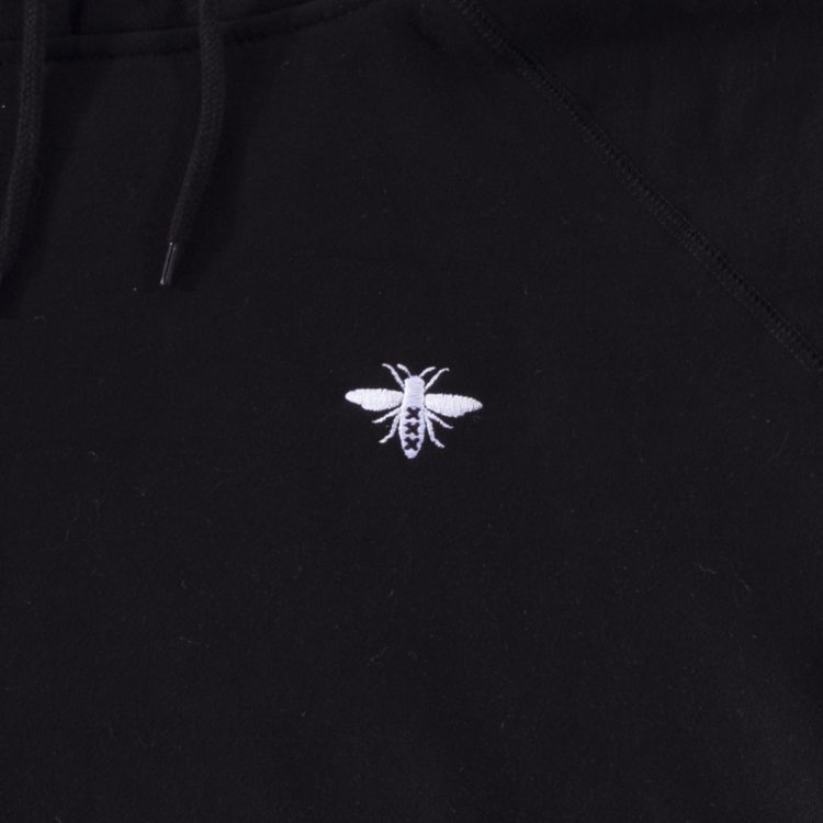deadstock amsterdam black hoodie close up