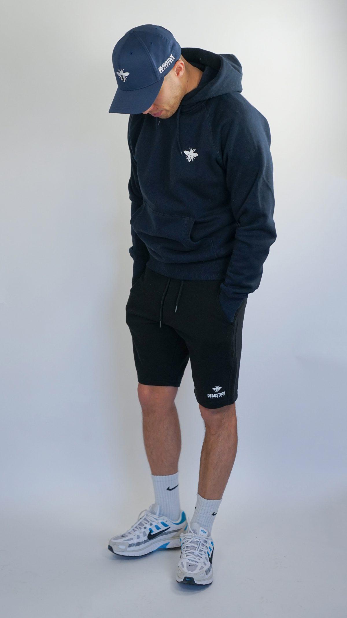 deadstock navy blue short black hoodie