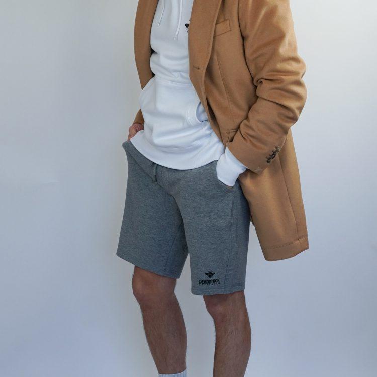 grey shorts white hoodie blue navy flexfit
